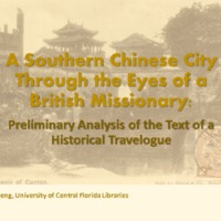 A southern Chinese city through the eyes of a British missionary: Preliminary analysis of the text of a historical travelogue